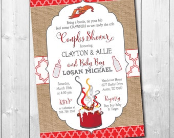 Crawfish Boil and Couples Baby Shower Invitation/DIGITAL FILE/printable/wording can be changed