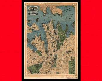 Old Map Of Sydney Old map Art Reproduction Office decoration Vintage Retro Map Reproduction Vintage Map Reproductiont