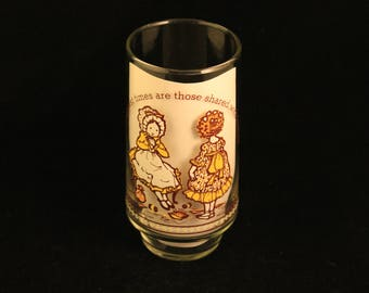 """Vintage Holly Hobbie Happy Talk Coca Cola Limited Edition Collector's Glass Tumbler """"The Happiest Times Are Those Shared With Friends."""""""