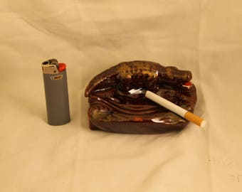 Vintage Ceramic Crocodile (Alligator) Cigarette Ashtray Tobacco Smoker Gift