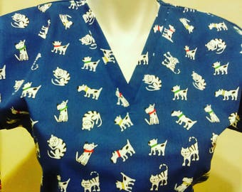 Fast Shipping Dogs and Cats scrub top sizes xs to xl made to order 100% Cotton 4 different neck design with two front pockets