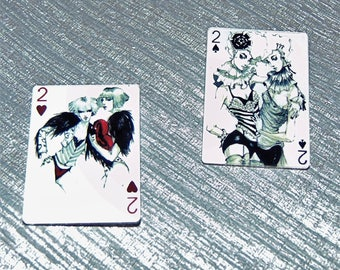 2 x Acrylic Playing Card Brooch Pins - Two of Hearts & Spades - Twin Circus Style  - Androgynous  - Lesbian -  Black White red Design - Bags