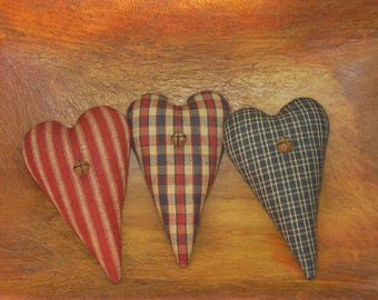 Primitive Heart Bowl Fillers ~ Americana Homespun Fabric ~ 4th of July ~ Patriotic Farmhouse Ornies