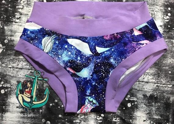 Watercolour Underwater Whales Underwear, jellyfish undersea landscape undies,  Womens Underwear,  Gift Briefs Boyshort Thong, Sexy