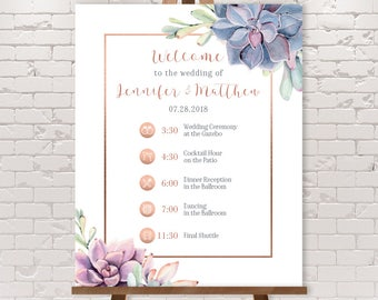 Wedding Timeline Sign / Wedding Itinerary Agenda with Icons / Cactus Greenery and Rose Gold Geometry ▷ Printable File {or} Printed & Shipped