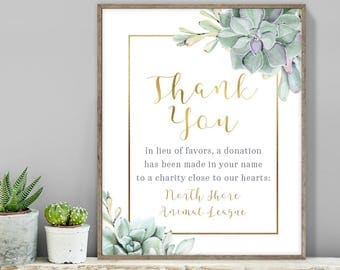 Succulent Thank You Sign / In Lieu Charity Donation / Greenery and Gold / Green Cactus and Gold ▷ Printable File {or} Printed & Shipped