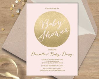 Blush and Gold Baby Shower Invitation / Metallic Gold and Blush / Faux Gold Foil / Shower Invite▷ Printable File {or} Printed & Shipped