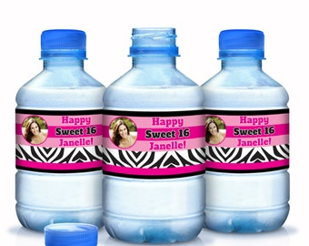 "Sweet 16 Zebra Photo Birthday Water Bottle Labels - Select the quantity you need below in the ""Pricing & Quantity"" option tab"