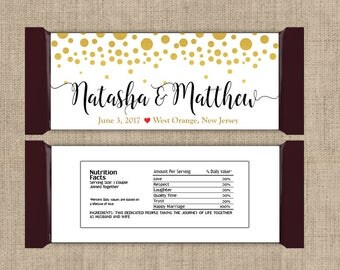 12 Large Personalized Gold Confetti on White Hershey Candy Bar Wrappers - Wedding Candy Bar Wrapper  - Other Colors Available