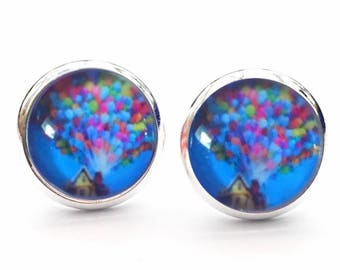 Disney Pixars Up House And Balloons Stud Earrings. 10mm. Available as cufflinks