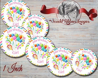 Single sheet Birthday Girl digital images Instant download Party Balloons Girl Birthday