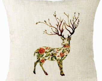 Beautiful Majestic Floral Deer Stag Pillow Cushion Cover Linen Cotton