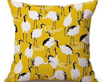 Yellow Stork Bird Ostrich Tropical Bold Geometric Pillow Cushion Cover Linen Cotton