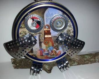 Hootie  found object assemblage art recycled