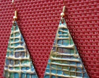 Recycled aluminum triangle hand painted earrings