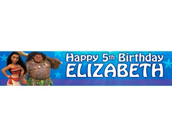 2 x Moana Personalised Birthday Banner, custom, Printable design, Disney, party,