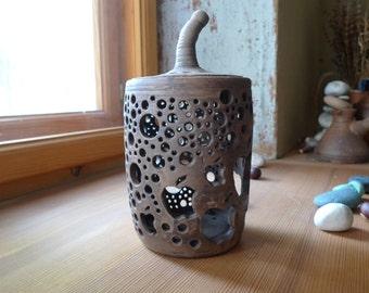 Clay Lantern, Ceramic Lampshade. Ceramic Lantern, ceramic candle holder, pottery lantern. ceramic illuminator.