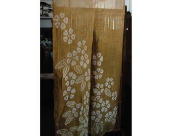 "traditional linen noren, door way curtain. sakura on mustard yellow back ground (AA17) 35""W x 59""L"