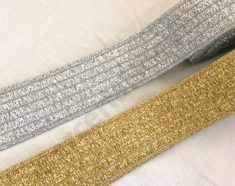 "Fancy gold silver elastic size 1 9/16"" (4cm) shoes bags belts"