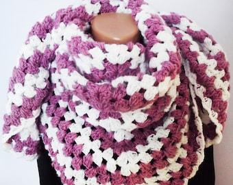 Crochet Triangular Simple Shawl Custom Color Combination  Crochet Wrap