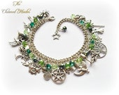 Green Pagan Charm Bracelet Wiccan Charm Bracelet Wicca Bracelet Witch Druid Magic Wiccan Charms Book of Shadows Pentagram Moon
