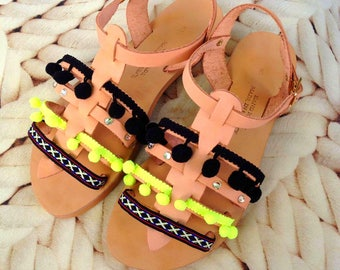 Gladiator sandals - Bohemian leather sandals with pom pom and strass - Boho strappy sandals - Neon and black pom pom sandals - Boho sandals