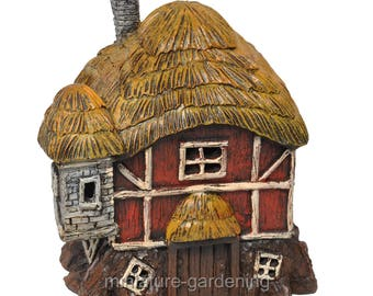 Thatched Roof Red Barn with Light for Miniature Garden, Fairy Garden