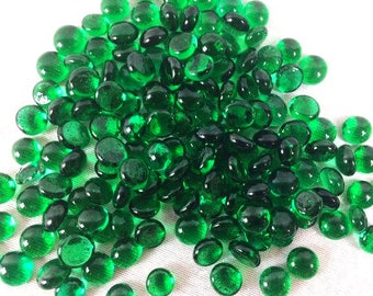 120 Emerald Green Glass Nuggets Green Glass Cabochons Glass Mosaic Pebbles 10mm Mosaic Stones Craft Mosaic Glass Mosaic Tiles Mosaic Tile