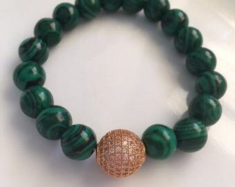 Malachite and Pave Bracelet