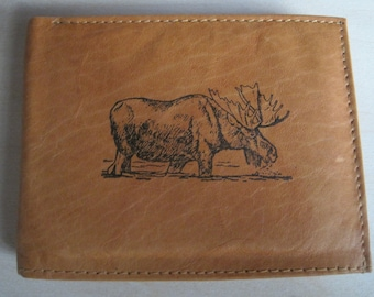 "Mankind Wallets Men's Leather RFID Blocking Billfold w/ ""Moose Hunting Image""~Makes a Great Gift!"