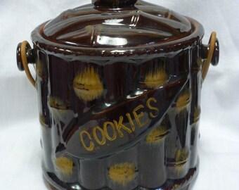 "Vintage 1950's ""Bamboo"" Ceramic Cooke Jar"