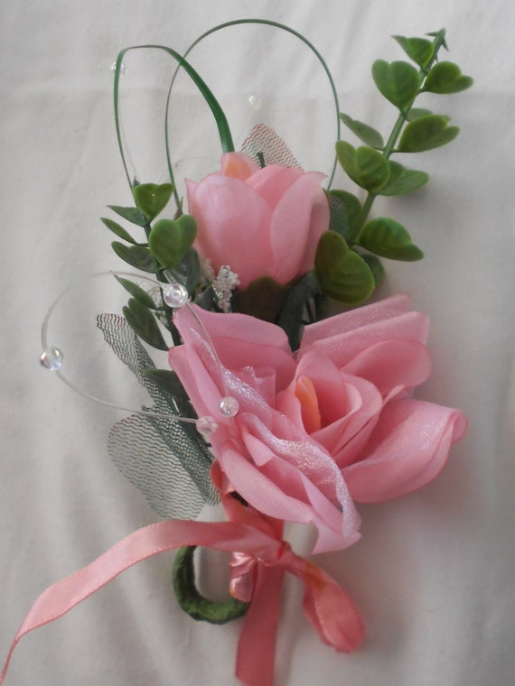 Set of 12 pink color single large  rose  boutonniers or corsages