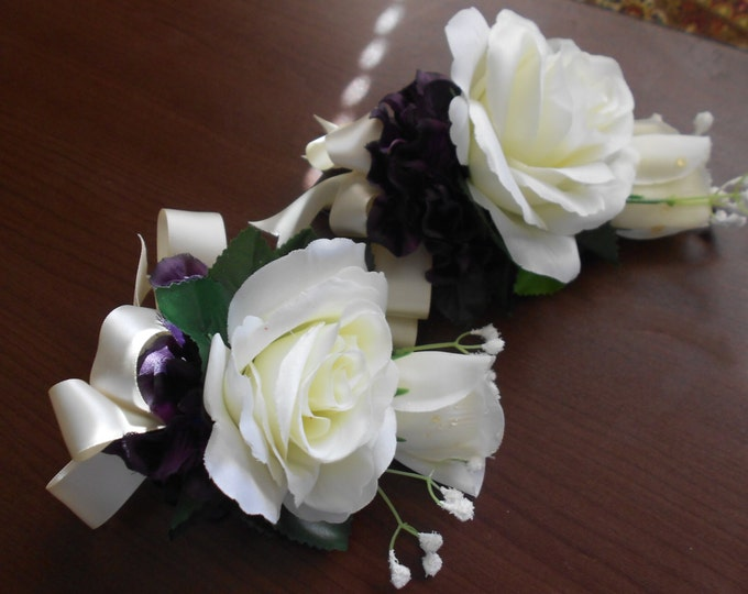 Corsages set of 6 roses Ivory roses and plum hydrangeas