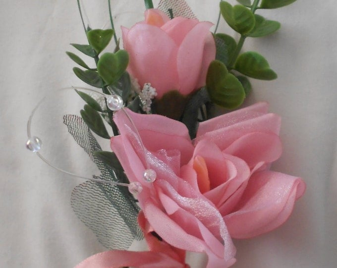 Set of 6 pink color single large  rose  boutonniers or corsages