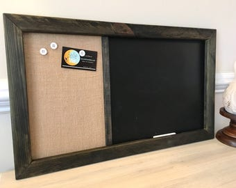 "14"" x 24"" Framed Chalkboard Magnetic Message Fabric Board, Bulletin Memo Board, Office, Kitchen, Child's room, Linen"