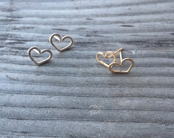 Hammered Heart Stud Earrings, Valentines Day Gift, Sterling Siver, Rose Gold or Yellow Gold Fill