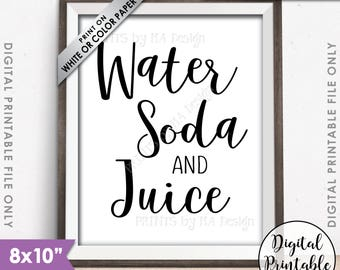 """Drinks Sign, Water Soda and Juice Beverage Sign, Non-Alcoholic Drinks Station Sign, Beverage Station, 8x10"""" Printable Instant Download"""