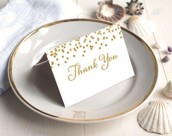 PDF Template 5x3.5 tent style card Thank You card INSTANT DOWNLOAD Wedding Gold Confetti calligraphy Thank You Note Cards Printable Digital