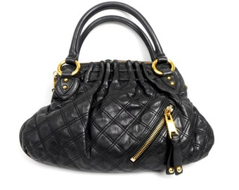 Vintage MARC JACOBS Bag, Black Leather Quilted Handbag