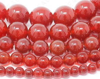 "Red Agate Beads Natural Gemstone Round Loose - 4mm 6mm 8mm 10mm 12mm - 15.5"" Strand"