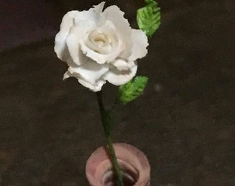OOAK White rose in a pink marble inspired vase 1:12 scale