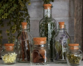 Decorative Herbal Apothecary Bottles - Set of 6 | Decorative Glass Bottles | Potion Bottles | Unique Home Decor