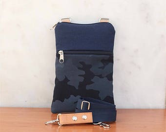 Military Navy blue Small Crossbody Bag for iPhone 7 / 7 plus / 6 / 6 plus, cell phone,small travel case