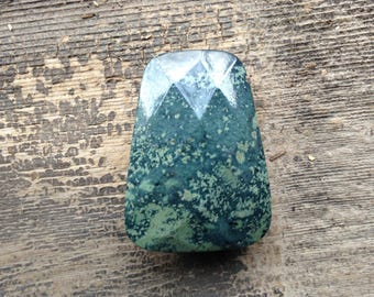 Kambaba Jasper Pendant Bead - Faceted - Blue and Green - Side-drilled