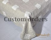 Custom orders Kathy Flax King size quilts, King size 104 x 94 inches (265 х 238 cm)