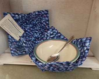 Microwave Bowl Cozy, Soup Bowl Pot Holder, Blueberries Bowl Potholder, Bowl Holder, Soup Cozies, Hostess Gift , Blueberry Made in Maine