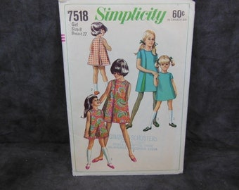 1960s Vintage Simplicity Pattern 7518 Child's and Girl's Wrap-Around Dress size 8 bust 27