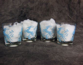 Mid Century Blue Gazelle Juice Glasses - High Ball Glasses, Federal Glass Company  - Set of 4
