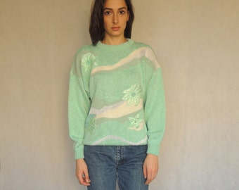 80s Vintage Turquoise Floral Design with Beads Knitted Sweater
