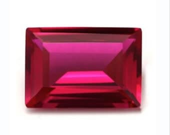 Synthetic Lab Created Ruby Corundum AAA Baguette Loose Gemstone(3x2mm - 18x13mm)